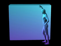 Abstract man body. Blue 3D abstract man body model standing by a cube Stock Photography
