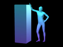 Abstract man body. Blue 3D abstract man body model standing by a cube Stock Photos