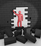 Abstract man breaking trough a wall Stock Images