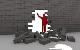 Abstract man breaking trough a wall Stock Photos