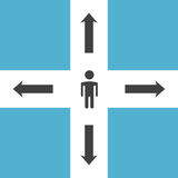 Abstract man on crossroads. Abstract man silhouette standing on crossroads. Decision, choice, confusion and opportunities concept. Flat design. Vector stock illustration