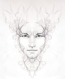 man spirit face portrait, linear ornamental drawing, black and white Stock Photos