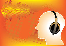 Abstract man with earphones poster. On bright yellow rays Royalty Free Stock Images