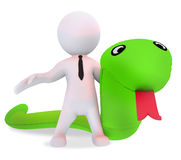 Abstract man with green serpent toy Royalty Free Stock Images
