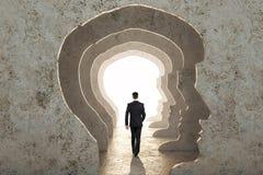 Abstract man head corridor stock photography