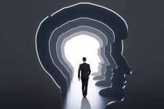 Abstract man head corridor stock images