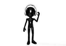 Abstract  man with headphones. Abstract 3D black man with headphones Stock Images