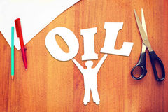 Abstract man holding oil on hands Royalty Free Stock Photography