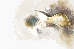 Abstract playing acoustic guitar watercolor painting background. Abstract man playing acoustic guitar on watercolor illustration painting background stock photography