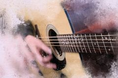 Abstract man playing acoustic guitar on watercolor painting. Abstract beautiful playing Guitar in the foreground on Watercolor painting background and Digital royalty free illustration