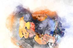 Abstract man playing acoustic guitar on watercolor painting. royalty free illustration
