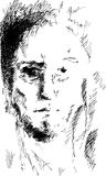 Abstract man portrait, pencil drawing style,  Stock Photo