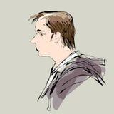 Abstract man portrait profile vector illustration Stock Photos