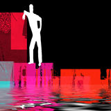 Abstract man beside water. An illustrated, abstract view of the silhouette or white outline of a man on a black background, casually leaning against a red object Stock Photos