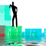 Abstract man beside water. An illustrated, abstract background of the silhouette or black outline of a man, casually leaning against an object overlooking a body Stock Photo
