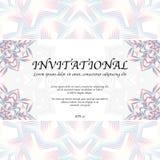 Invitational card with mandala. Abstract mandala background with invitational card and sample text Royalty Free Stock Photos