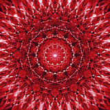 Abstract Mandala in Black, Red and White colors - square background Stock Photo