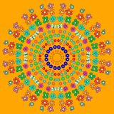 Abstract mandala with flower, curls, bee. And leaves on orange background. Can be used as a background, decor, decoupage, textile, invitation, wallpaper vector illustration