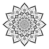 Abstract mandala, Flower isolated on white background, Black and white ornate bloom, Esoteric petal mandala Stock Photo