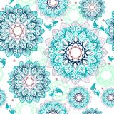 Abstract Mandala flower and little fish design like pool concept free hand drawing seamless pattern. With white tone background royalty free stock photo