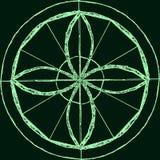 Abstract mandala in a hand-drawn style. Green geometric mandala Royalty Free Stock Photography