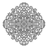 Abstract mandala ornament. Asian pattern. Black and white authentic background. Vector illustration. stock photo