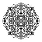 Abstract mandala ornament. Asian pattern. Black and white authentic background. Vector illustration. royalty free stock image