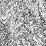 Abstract mandala pattern Ornamental ethnic decorative feathers Royalty Free Stock Photo