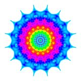 Abstract mandala in rainbow colors, Colorful bloom, Flower isolated on white background, Multicolor esoteric petal mandala Stock Photography
