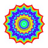 Abstract mandala in rainbow colors. Flower isolated on white background. Colorful bloom. Multicolor esoteric petal mandala. Royalty Free Stock Image