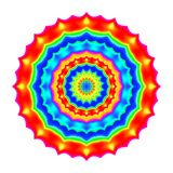 Abstract mandala in rainbow colors. Flower isolated on white background. Colorful bloom. Multicolor esoteric petal mandala. Stock Image