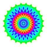 Abstract mandala in rainbow colors. Flower isolated on white background. Colorful bloom. Multicolor esoteric petal mandala. Stock Photos