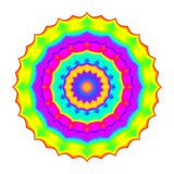 Abstract mandala in rainbow colors. Flower isolated on white background. Colorful bloom. Multicolor esoteric petal mandala. Abstract mandala in rainbow colors Royalty Free Stock Image