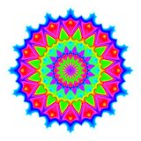 Abstract mandala in rainbow colors. Flower isolated on white background. Colorful bloom. Multicolor esoteric petal mandala. Abstract mandala in rainbow colors Royalty Free Stock Photos