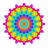 Abstract mandala in rainbow colors. Flower isolated on white background. Colorful bloom. Multicolor esoteric petal mandala. Stock Photo
