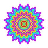 Abstract mandala in rainbow colors. Flower isolated on white background. Colorful bloom. Multicolor esoteric petal mandala. Stock Images