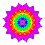 Abstract mandala in rainbow colors. Flower isolated on white background. Colorful bloom. Multicolor esoteric petal mandala. Stock Photography