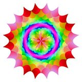Abstract mandala in rainbow colors, Flower isolated on white background, Multicolor bloom, Colorful esoteric petal mandala. Abstract mandala in rainbow colors Royalty Free Stock Image