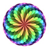 Abstract mandala in rainbow colors, Flower isolated on white background, Multicolor bloom, Colorful esoteric petal mandala Royalty Free Stock Photography