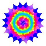 Abstract mandala in rainbow colors, Flower isolated on white background, Multicolor bloom, Colorful esoteric petal mandala Royalty Free Stock Photo