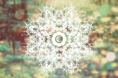 Abstract mandala with sacred geometry. And spiritual symbols royalty free stock photo