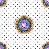 Abstract mandala seamless pattern with polka dot royalty free illustration