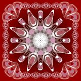 Abstract mandala shape in guillloche design, white lines on dark red background, symmetric abstract shape in frame Stock Photography