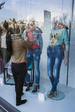 Abstract mannequin at the shop window with the reflected, Granad Stock Photography