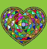 Abstract many colored heart. Abstract colored image of heart consisting of lines and figures Royalty Free Stock Images