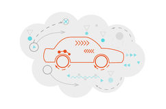 Abstract map of the cloud with car and lines Royalty Free Stock Photography