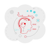 Abstract map of the cloud with head and lines Stock Photos