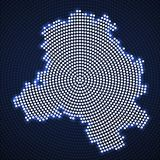 Abstract map Delhi of glowing radial dots. Halftone concept. Vector illustration, eps 10 vector illustration