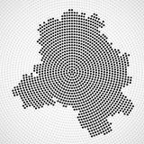 Abstract map Delhi of radial dots. Halftone concept. Vector illustration, eps 10 royalty free illustration
