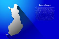 Abstract map of Finland with long shadow on blue background vector illustration. Abstract map of Finland with long shadow on blue background of vector Stock Image